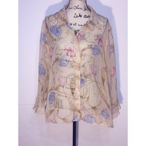 George Button Up Collared Floral Print Blouse